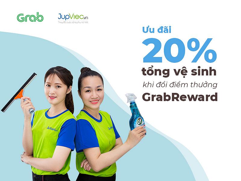 Ưu đãi giảm 20% dịch vụ tổng vệ sinh khi đổi điểm thưởng GrabReward